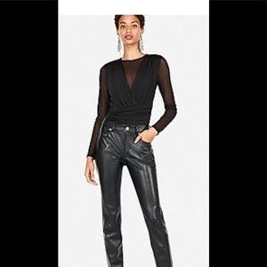 Express Sheer Black Long Sleeve Bodysuit